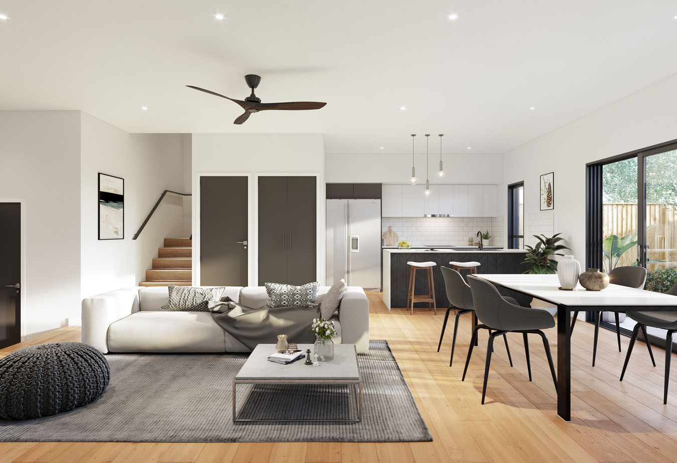 Brisbane Townhouse 4 Bedroom Evoke McDowall - lounge and dining